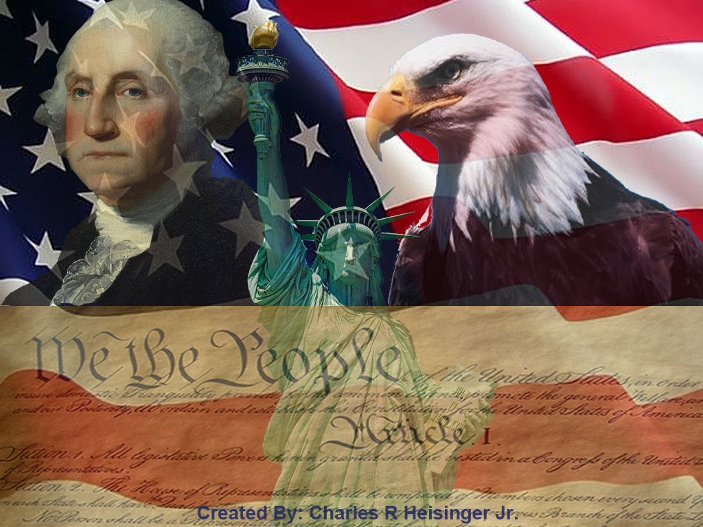 collage image of george washington, american eagle, constitution, statue of liberty, and american eagle